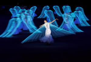 Performers participate in the opening ceremony of the 2014 Sochi Winter Olympics