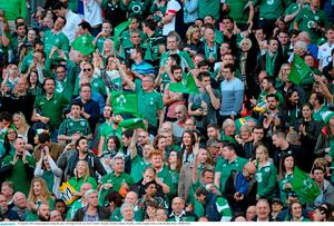 27 September 2015; Ireland supporters during the game. 2015 Rugby World Cup, Pool D, Ireland v Romania, Wembley Stadium, Wembley, London, England. Picture credit: Brendan Moran / SPORTSFILE