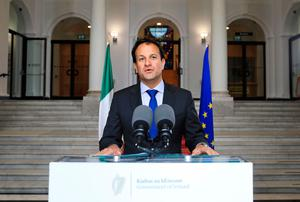 Addressing the nation: Taoiseach Leo Varadkar during his live speech outside Government Buildings yesterday. Photo: PA