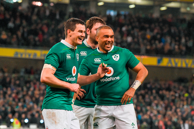 JOY: Jonathan Sexton and Simon Zebo celebrate after the RBS Six Nations Rugby match between Ireland and England. Photo: Brendan Moran/Sportsfile