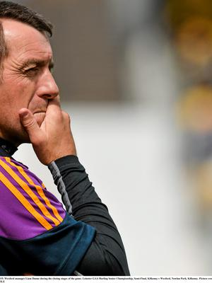 21 June 2015; Wexford manager Liam Dunne during the closing stages of the game. Leinster GAA Hurling Senior Championship, Semi-Final, Kilkenny v Wexford, Nowlan Park, Kilkenny. Picture credit: David Maher / SPORTSFILE