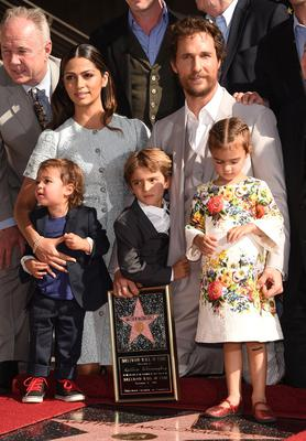 Actor  Matthew McConaughey and his family Camila Alves, Levi McConaughey, Livingston McConaughey , and Vida McConaughey attend The Hollywood Walk Of Fame ceremony for Matthew McConaughey