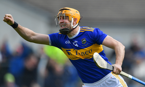 Séamus Callanan of Tipperary celebrates scoring his side's second goal during the Munster GAA Hurling Senior Championship Round 3 match between Clare and Tipperary at Cusack Park in Ennis, Co Clare. Photo by Piaras Ó Mídheach/Sportsfile