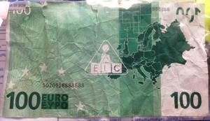 The toy €100 note is being treated as counterfeit currency
