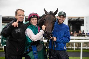 Ger Lyons, Colin Keane and groom Dan McGraine with Siskin after winning the Keeneland Phoenix Stakes (Group 1) last year