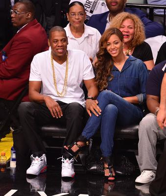 Jay-Z and Beyonce attend the Miami Heat vs Brooklyn Nets game at Barclays Center on May 12, 2014