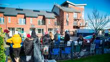 Prospective Home Buyers pictured queueing outside the Silver Banks showhouses, Baldoyle. Photo: Colin O'Riordan