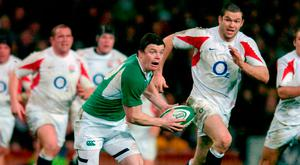 Hamlet without the prince: Brian O'Driscoll in action against England at Croke Park in 2007. Photo: Brendan Moran