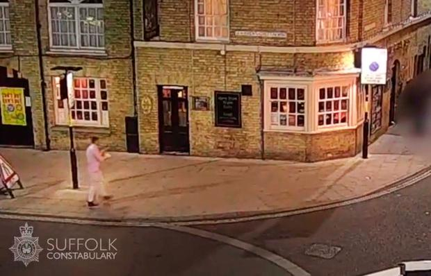 Handout CCTV grab dated 24/09/16 issued by Suffolk Police of Corrie McKeague on Brentgovel Street in Bury St Edmunds, Suffolk, as police have widened their search for the RAF serviceman who has been missing for more than a week amid fears he may have been kidnapped