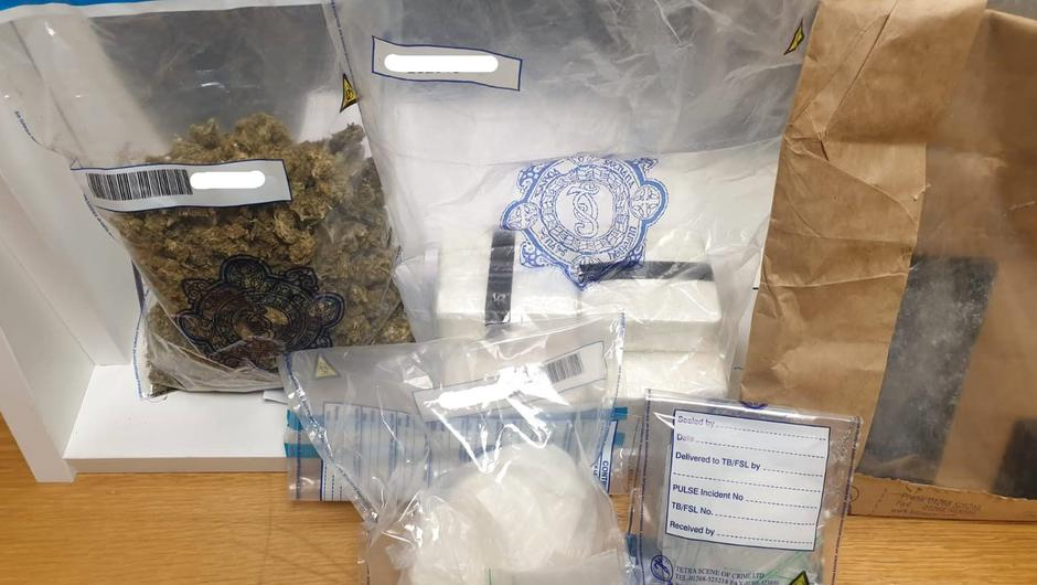 Gardaí seized suspected cocaine worth €120,500 and an estimated €6,000 in cannabis herb. Credit: An Garda Siochana