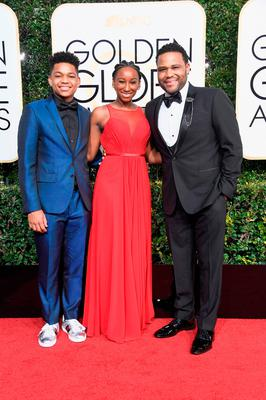 (L-R) Nathan Anderson, Kyra Anderson and actor Anthony Anderson attend the 74th Annual Golden Globe Awards at The Beverly Hilton Hotel on January 8, 2017 in Beverly Hills, California.  (Photo by Frazer Harrison/Getty Images)