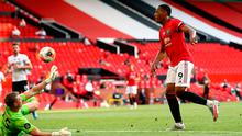 Anthony Martial nets his and Manchester United's third goal at Old Trafford. Photo: Michael Steele/NMC Pool/PA Wire