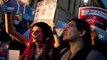 Activists and protesters with the National Center for Transgender Equality rally in front of the White House, Wednesday, Feb. 22, 2017, in Washington, after the Department of Education and the Justice Department announce plans to overturn the school guidance on protecting transgender students. (AP Photo/Andrew Harnik)