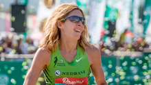 US long-distance runner Camille Herron reacts after winning the famous 89km Comrades Marathon between Durban and Pietermaritzburg in South Africa in 2017
