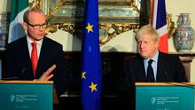 Simon Coveney and Boris Johnson at Iveagh House. Picture: Gerry Mooney