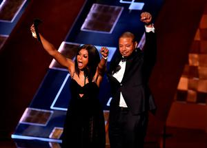 LOS ANGELES, CA - SEPTEMBER 20:  Actors Taraji P. Henson (L) and Terrence Howard speak onstage during the 67th Annual Primetime Emmy Awards at Microsoft Theater on September 20, 2015 in Los Angeles, California.  (Photo by Kevin Winter/Getty Images)