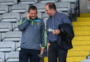 Wexford manager Davy Fitzgerald is pictured with County Board chairman Derek Kent after a Leinster SHC quarter-final match against Laois at O'Moore Park, in Portlaoise back in May 2017. Photo: Ray McManus/Sportsfile