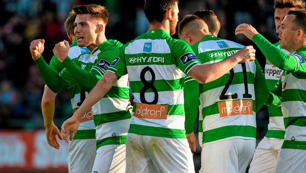 5 June 2015; Brandon Miele, left, Shamrock Rovers, celebrates after scoring his side's first goal with teammates. SSE Airtricity League Premier Division, Shamrock Rovers v Sligo Rovers. Tallaght Stadium, Tallaght, Co. Dublin. Picture credit: David Maher / SPORTSFILE