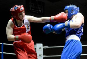 Claire Grace suffered a nasty gash over her left eye in Monday's win over Cristian Stanca of Romania which forced her out of her clash with Turkish welterweight Guluzar Kara. Photo: Matt Browne / SPORTSFILE