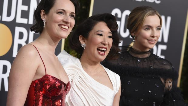 Phoebe Waller-Bridge, from left, Sandra Oh and Jodie Comer (Jordan Strauss/Invision/AP)