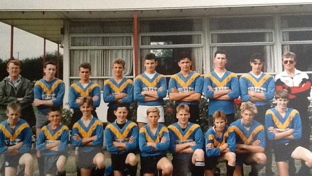 A severely weakened Orrell St James U14 side, with Farrell - fourth from right on the back - playing stand-off, took on the combined forces of Hull and won by over 70 points, confirming their status as the beat amateur side in the business and Farrell's, still just 13, as an emerging star.