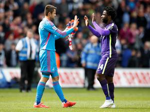 Manchester City's Wilfried Bony and Swansea's Lukasz Fabianski greet one another at the final whistle