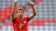 Thomas Muller celebrates after Bayern Munich's latest win. Christof Stache/Pool via REUTERS.