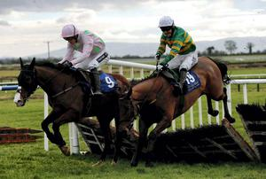 Waxies Dargle and Tony McCoy (R), here winning at Fairyhouse last year, can take the spoils for JP McManus