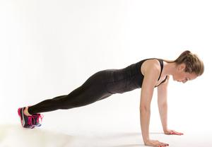 Mountain climber:  1/ Start with your feet and both hands on the floor. Make sure your