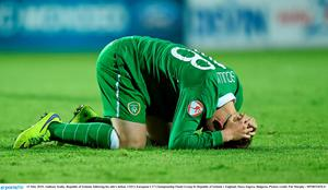 13 May 2015; Anthony Scully, Republic of Ireland, following his side's defeat. UEFA European U17 Championship Finals Group D, Republic of Ireland v England, Stara Zagora, Bulgaria. Picture credit: Pat Murphy / SPORTSFILE