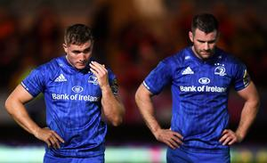 Jordan Larmour, left, has paid tribute to Fergus McFadden after he announced his retirement from Leinster. Photo by Stephen McCarthy/Sportsfile