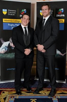 Ulster players Declan Fitzpatrick, left, and Neil McComb in attendance at the Hibernia College IRUPA Rugby Player Awards 2013. Burlington Hotel, Dublin. Picture credit: Brendan Moran / SPORTSFILE