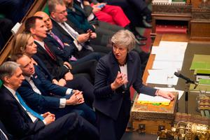 Britain's Prime Minister Theresa May pictured during Prime Minister's Questions in the House of Commons. Photo: HO / UK PARLIAMENT / AFP