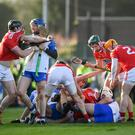 Players from both sides tussle during the Allianz Hurling League Division 1 Group A Round 1 match between Waterford and Cork at Walsh Park in Waterford. Photo by David Fitzgerald/Sportsfile