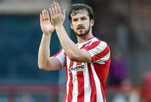 Ryan McBride headed a first-half equaliser for Derry City as they went on to claim three points against Sligo Rovers. Photo: David Maher / SPORTSFILE
