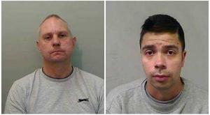 Paedophiles James White, left, and Jason Lydiard, right, were found tied to a public bench