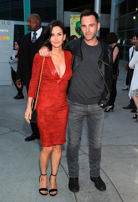 """Courteney Cox and musician Johnny McDaid attend the Los Angeles Special Screening of """"Just Before I Go"""" at ArcLight Hollywood on April 20, 2015 in Hollywood, California.  (Photo by Angela Weiss/Getty Images for Darin Pfeiffer Consulting)"""