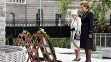 Building relations: Queen Elizabeth and President Mary McAleese lay wreaths at the Garden of Remembrance in Dublin during the monarch's visit in 2011. Photo: Getty Images