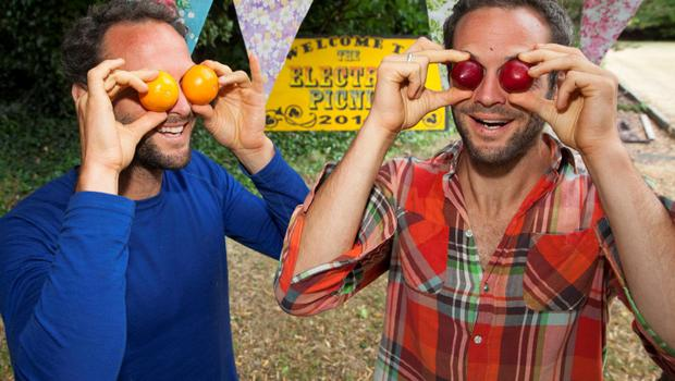 NO REPRO FEE Brothers David & Stephen Flynn from The Happy Pear launch Theatre of Food at this year's Electric Picnic. The happy pair will be demoing some of their delicious vegan recipes at the Theatre of Food to help Picnickers with an easy and fun approach to healthy eating! Picture: Tony Kinlan.
