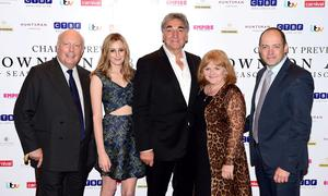 Julian Fellowes, Laura Carmichael, Jim Carter, Lesley Nicol and Gareth Neame attending an exclusive charity screening of Downton Abbey at the Empire cinema in London. Photo: Ian West/PA Wire