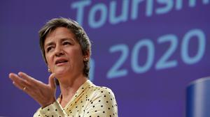 Guidelines: European Commission vice-president Margrethe Vestager outlines the EU's plan for tourism. Photo: Olivier Hoslet/Reuters