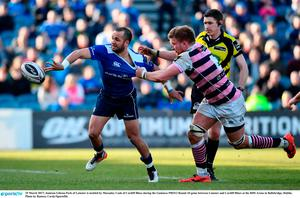 25 March 2017; Jamison Gibson-Park of Leinster is tackled by Macauley Cook of Cardiff Blues during the Guinness PRO12 Round 18 game between Leinster and Cardiff Blues at the RDS Arena in Ballsbridge, Dublin. Photo by Ramsey Cardy/Sportsfile