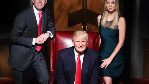 Donald Trump with daughter Ivanka and son Donald Trump Jr on The Apprentice