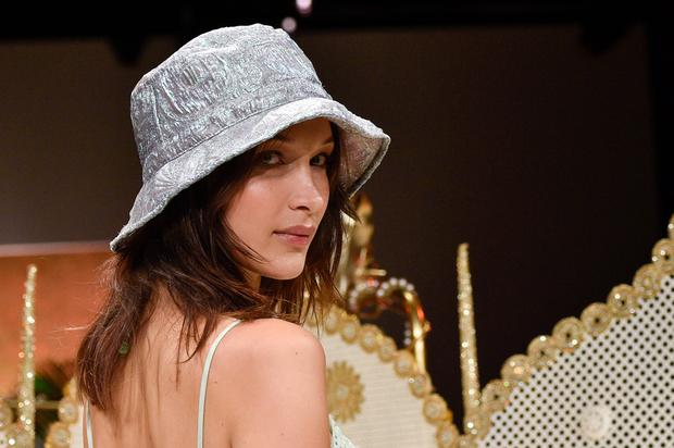 Bella Hadid walks the runway at Anna Sui fashion show during New York Fashion Week at Gallery I at Spring Studios on on September 10, 2018 in New York City.  (Photo by Pietro D'aprano/FilmMagic,,)