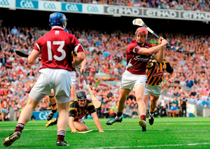 Joe Canning scores Galway's first goal in the 2012 All-Ireland hurling final. Photo: Paul Mohan / Sportsfile