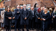 Funeral: Senior members of Sinn Féin including Mary Lou McDonald, Gerry Adams, and Michelle O'Neill at the funeral. Photo: Liam McBurney