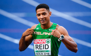 8 August 2018; Leon Reid of Ireland after competing in the Men's 200m Semi-Final during Day 2 of the 2018 European Athletics Championships at The Olympic Stadium in Berlin, Germany. Photo by Sam Barnes/Sportsfile