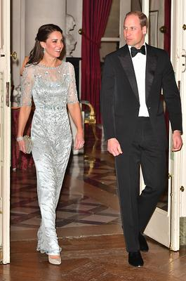 Prince William, Duke Of Cambridge and Catherine, Duchess of Cambridge arrives for a dinner hosted by Her Majesty's Ambassador to France, Edward Llewellyn, at the British Embassy in Paris, as part of their official visit to the French capital on March 17, 2017 in London, England. (Photo by Dominic Lipinski -  Pool/Getty Images)