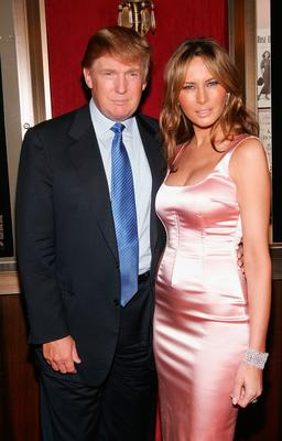"Donald Trump and his wife Melania Trump attends the premiere of ""War Of The Worlds"" at the Ziegfeld Theatre on June 23, 2005 in New York City. (Photo by Evan Agostini/Getty Images)"