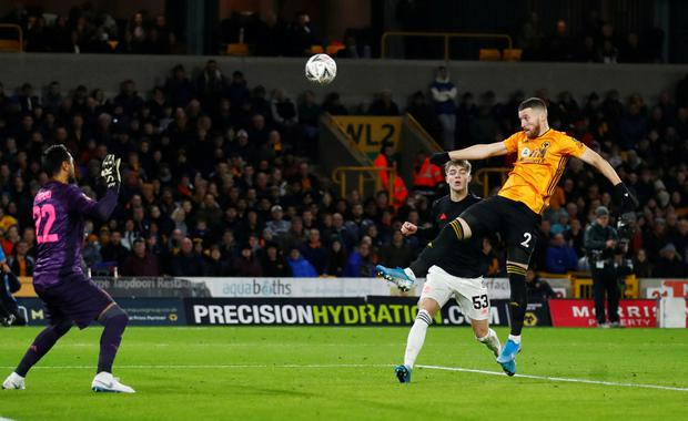 Wolverhampton Wanderers' Matt Doherty scores a goal that was disallowed in the FA Cup third round draw against Manchester United at Molineux Stadium. Photo: Reuters/Eddie Keogh